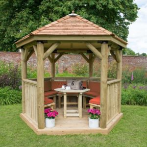 Forest Garden 3m Hexagonal Wooden Garden Gazebo with Cedar Roof - Furnished with Table, Benches and Cushions (Terracotta)