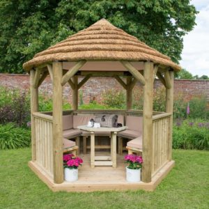 Forest Garden 3m Hexagonal Wooden Garden Gazebo with Thatched Roof - Furnished with Table, Benches and Cushions (Cream)