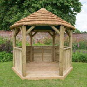 Forest Garden 3m Hexagonal Wooden Garden Gazebo with Thatched Roof - Terracotta Lining