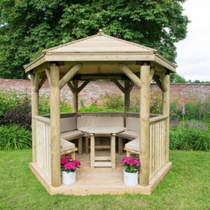 Forest Garden 3m Hexagonal Wooden Garden Gazebo with Timber Roof - Furnished with Table, Benches and Cushions (Cream)