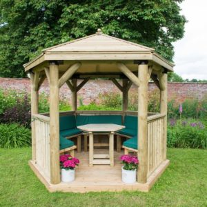 Forest Garden 3m Hexagonal Wooden Garden Gazebo with Timber Roof - Furnished with Table, Benches and Cushions (Green)