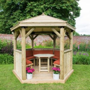 Forest Garden 3m Hexagonal Wooden Garden Gazebo with Timber Roof - Furnished with Table, Benches and Cushions (Terracotta)