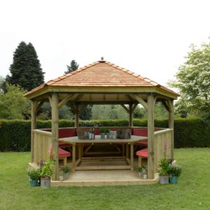 Forest Garden 4.7m Hexagonal Wooden Garden Gazebo with Cedar Roof - Furnished with Table, Benches and Cushions (Terracotta)