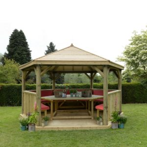 Forest Garden 4.7m Hexagonal Wooden Garden Gazebo with Timber Roof - Furnished with Table, Benches and Cushions (Terracotta)