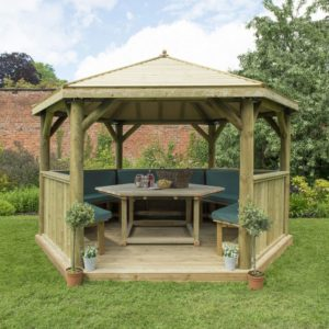 Forest Garden 4m Hexagonal Wooden Garden Gazebo with Timber Roof - Furnished with Table, Benches and Cushions (Green)