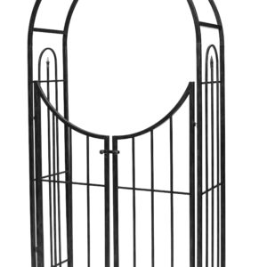 Panacea Arched Top Garden Arch with Gate (Black)