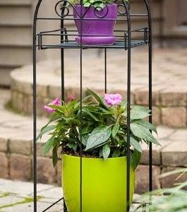 Panacea Classic Finial 2 Tier Plant Stand (Black)