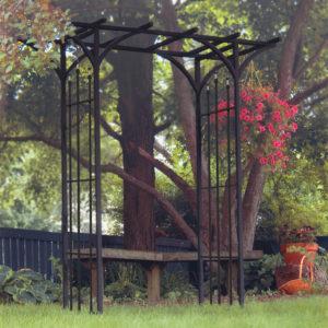 Panacea Flat Top Garden Arch with Finials (Black)