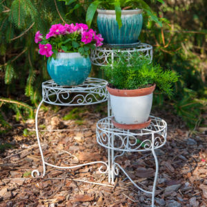 Panacea French Country Scroll 3-Tier Plant Stand (Distressed White)