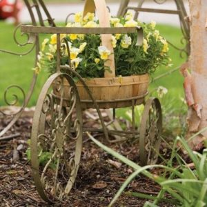Panacea Whimsical Tricycle Plant Stand (Antique Willow)