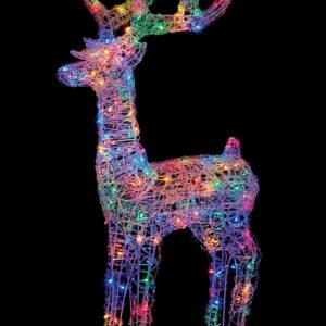 Premier 1.15m Lit Soft Acrylic Reindeer with 160 Multi LEDs Outdoor Christmas Decorations