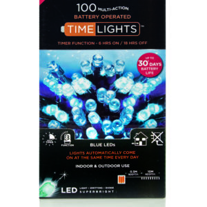 Premier 100 Multi Action Battery LED Christmas Lights (Blue)