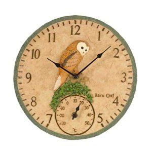 "Smart Garden Barn Owl Clock & Thermometer 12"""