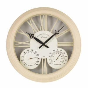 "Smart Garden Exeter Wall Clock & Thermometer 15""-Cream"