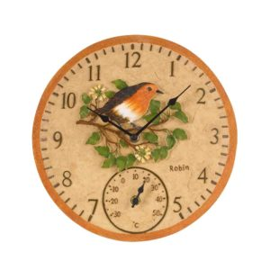 "Smart Garden Robin Wall Clock & Thermometer 12"""