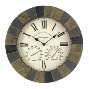 """Smart Garden Stonegate Wall Clock & Thermometer 14""""Slate Effect"""