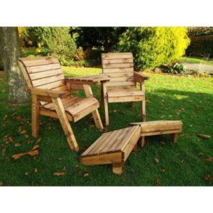 2 Seat Deluxe Angled Lounger Scandinavian Redwood Garden Set