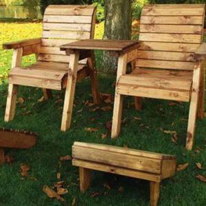 2 Seat Deluxe Straight Lounger Scandinavian Redwood Set
