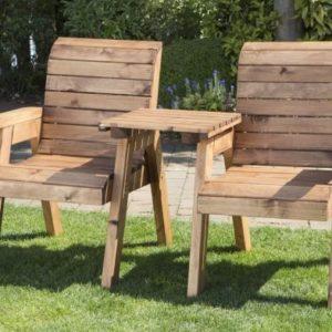 2 Seat Tete-a-tete Companion Love Seat Garden Bench & Table
