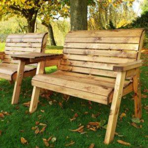 2 Seater Straight Tete-a-tete Companion Love Seat Garden Bench & Table