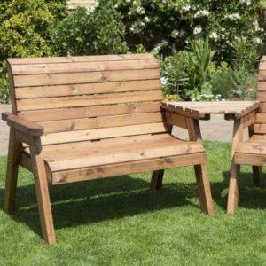 3 Seat Angled Tete-a-tete Companion Love Seat Garden Bench & Table