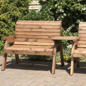 3 Seat Straight Tete-a-tete Companion Love Seat Garden Bench & Table
