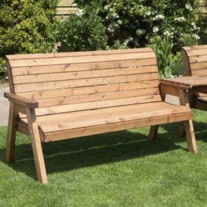 4 Seat Straight Tete-a-tete Companion Love Seat Garden Bench & Table