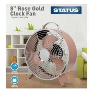 8 Inch Rose Gold Clock Fan