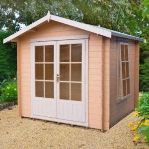 Shire Barnsdale Untreated 19mm Garden Log Cabin & Veranda 8' x 8'