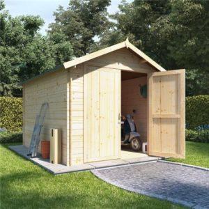 10 x 8 log cabin BillyOh Heavy Duty Apex Windowless Log Cabin Store - 19mm