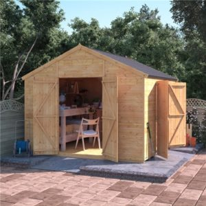 10x10 T&G Apex Shed - BillyOh Expert Workshop with Dual Entrance Windowless