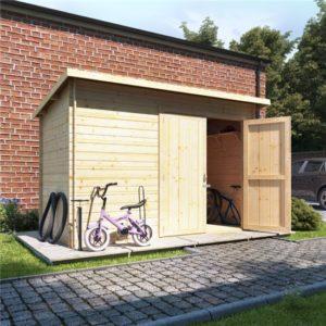 10x6 log cabin ouble oor BillyOh Pent Log Cabin Windowless Heavy Duty Bike Store Range - 19mm