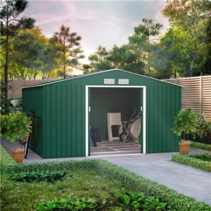 11x10 BillyOh Ranger Apex Metal Shed With Foundation Kit - Dark Green