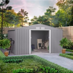 11x10 BillyOh Ranger Apex Metal Shed With Foundation Kit - Light Grey