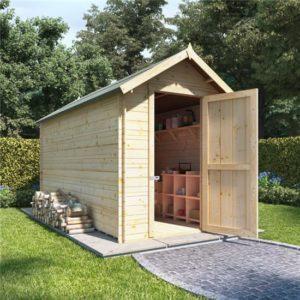 12 x 6 log cabin BillyOh Heavy Duty Apex Windowless Log Cabin Store - 19mm