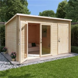 12x8 tianna BillyOh Tianna Log Cabin Summerhouse with Side Store - 28mm