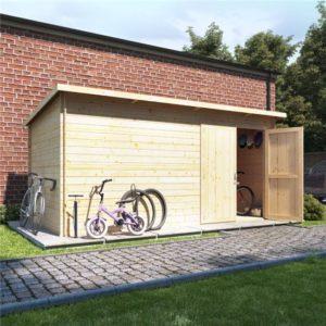 14x8 log cabin ouble oor BillyOh Pent Log Cabin Windowless Heavy Duty Bike Store Range - 19mm