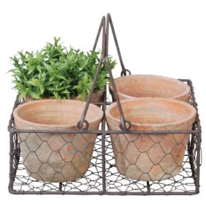 4 Aged Terracotta Pots in Wire Basket