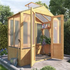 BillyOh 4000 Lincoln Wooden Polycarbonate Greenhouse with Opening Roof Vent - 3 x 6 Lincoln Wooden Greenhouse