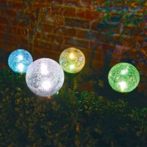 Bright Garden Solar Dual Function Crackle Ball Light - White