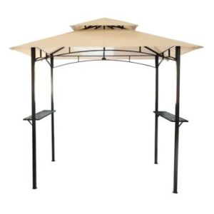 8ft x 5ft Steel Grill Garden Outdoor Gazebo - Beige
