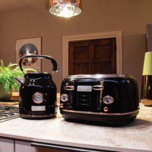 Bentley Kettle & Toaster Set Black & Rose Gold 1.7L