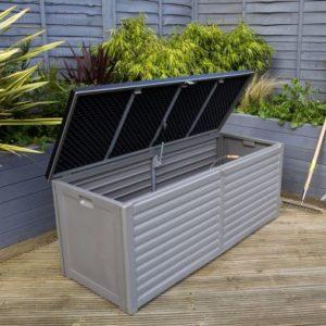 Bentley Plastic Garden Storage Box Grey & Black 390L