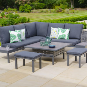 LG Outdoor Milano Deluxe Modular Lounge Dining Set with Adjustable Table