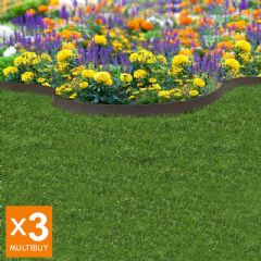 18m Recycled Rubber Lawn Edging - Border Thinline - Earth - H9cm