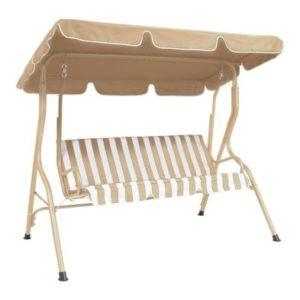 2 Seater Garden Patio Swing Seat Hammock Chair - Beige Striped