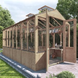 BillyOh 4000 Lincoln Wooden Clear Wall Greenhouse with Opening Roof Vent - PT-12 x 6