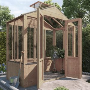 BillyOh 4000 Lincoln Wooden Clear Wall Greenhouse with Opening Roof Vent - PT-3 x 6
