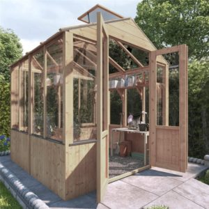 BillyOh 4000 Lincoln Wooden Clear Wall Greenhouse with Opening Roof Vent - PT-6 x 6