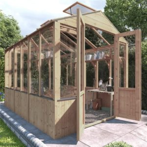 BillyOh 4000 Lincoln Wooden Clear Wall Greenhouse with Opening Roof Vent - PT-9 x 6